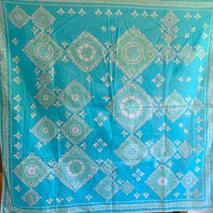 """Vintage Emilio Pucci cotton blue large scarf 35"""""""